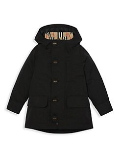 버버리 걸즈 투피스 양면 붐버 코트  Burberry Little Girls & Girls Rowan Two-Piece Removable Bomber Coat,Black