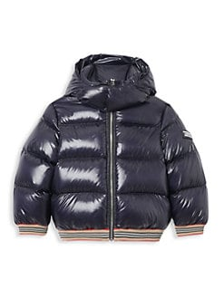 버버리 키즈 푸퍼 코트, 패딩 Burberry Little Kids & Kids KB6 Josiah Nylon Puffer Coat,Bright Navy