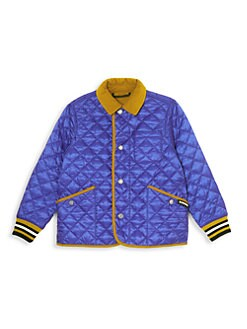버버리 키즈 컬포드 퀼팅 자켓 - 다크 코발트 Burberry Little Kids & Kids KB6 Culford Quilted Jacket,Dark Cobalt