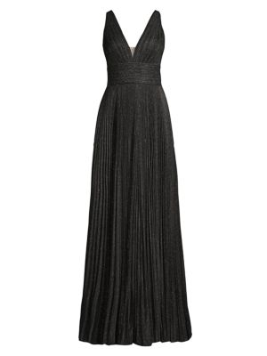 Metallic Pleated V-Neck Gown