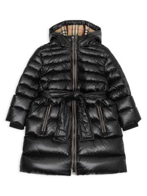 Little Girl's & Girl's Sharona Long Belted Puffer Coat