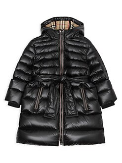 버버리 걸즈 롱패딩, 푸퍼 코트 Burberry Little Girls & Girls Sharona Long Belted Puffer Coat,Black