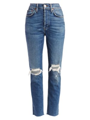 High-Rise Comfort Stretch Ripped Ankle Skinny Jeans