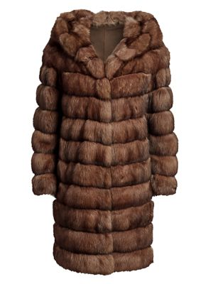 Hooded Sable Fur Long Coat