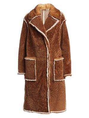 Julia & Stella For The Fur Salon Mink Fur-Trim Shearling Collared Coat