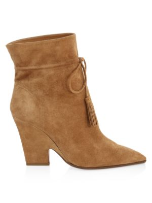 Sartorial Tassel-Trimmed Suede Ankle Boots