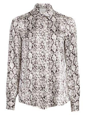 Isha Python-Print Silk Shirt
