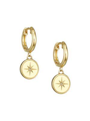 14K Yellow Goldplated & White Sapphire Star Charm Huggie Earrings