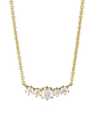 14K Yellow Goldplated & Rainbow Moonstone Pendant Necklace