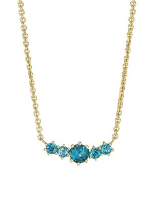 14K Yellow Goldplated & London Blue Topaz Pendant Necklace