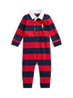 폴로 랄프로렌 남아용 아기 커버올 우주복 Polo Ralph Lauren Baby Boys Rugby Jersey Coverall,Red Mult