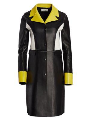 Colorblock Combo Leather Coat