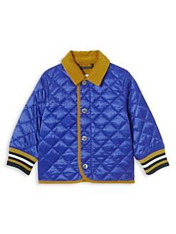 버버리 키즈 컬포드 퀼팅 자켓 - 다크 코발트 Burberry Babys & Little Kids IB6 Culford Quilted Stripe-Trim Jacket,Dark Cobalt