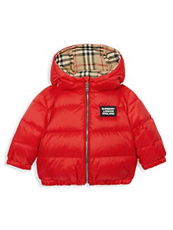 버버리 베이지 아기 양면 패딩 - 레드 Burberry Babys & Little Kids Rayon Reversible Down Jacket,Bright Red