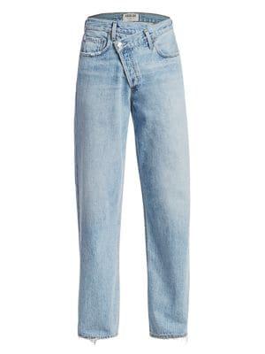Mid-Rise Crisscross Upsized Jeans