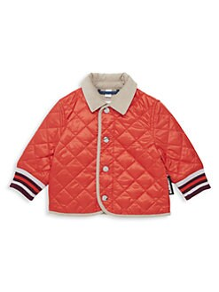 버버리 남아용 컬포드 퀼팅 자켓 - 코랄 Burberry Babys & Little Boys IG6 Culford Quilted Jacket,Bright Coral