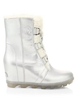 디즈니 겨울왕국2 쏘렐 메탈릭 가죽 부츠 SOREL Disneys Frozen 2 x Sorel Joan Of Arctic Wedge II Faux Fur & Shearling-Lined Metallic Leather Boots,Pure Silver