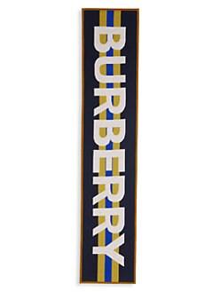 버버리 키즈 퀼팅 나일론 & 메리노울 스카프 Burberry Quilted Nylon & Merino Wool Scarf,Navy