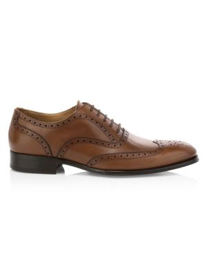Avellino Brogue-Trim Leather Oxfords
