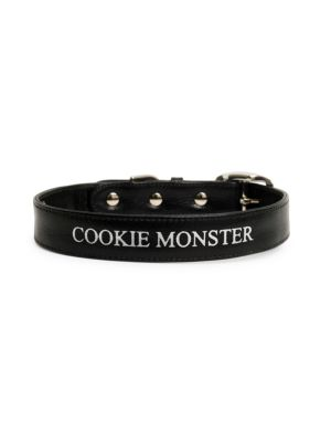 Leather Cookie Monster Dog Collar