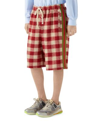 Oversize Check Wool Shorts