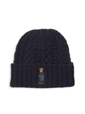 St. Andrew Aran Bear Embroidery Beanie Hat