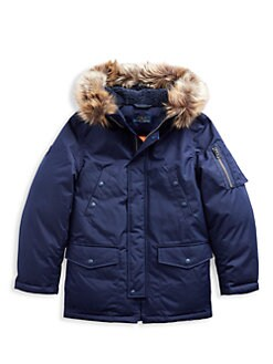 폴로 랄프로렌 보이즈 덕다운 퍼 파카 - 네이비 Polo Ralph Lauren Little Boys & Boys Military Faux Fur-Trim Down Parka,French Navy