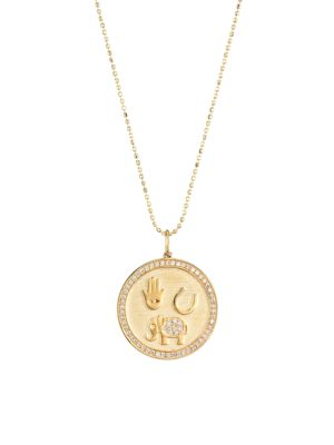 14K Yellow Gold & Diamond Luck and Protection Coin Charm Necklace