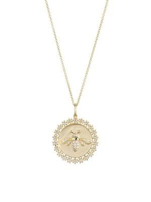 14K Gold & Diamond Bee Coin Pendant Necklace