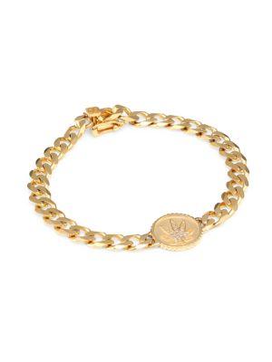 14K Yellow Gold & Diamond Mary Jane Charm Flat Link Bracelet