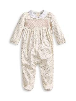 폴로 랄프로렌 여아용 아기 우주복 Polo Ralph Lauren Baby Girls Confetti Print Footie,Paper White