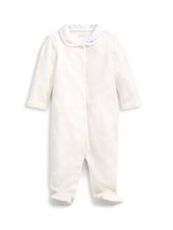 폴로 랄프로렌 여아용 아기 우주복 Polo Ralph Lauren Baby Girls Velour Footie,Paper White
