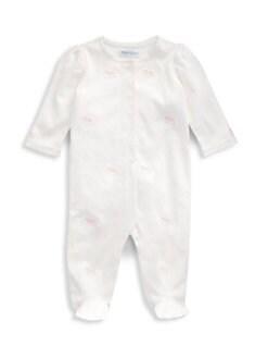 폴로 랄프로렌 여아용 아기 우주복 Polo Ralph Lauren Baby Girls Novelty Cotton Footie,Paper White