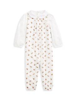 폴로 랄프로렌 여아용 아기 커버올 우주복 Polo Ralph Lauren Baby Girls Cherry Print Coverall,Cream Multi