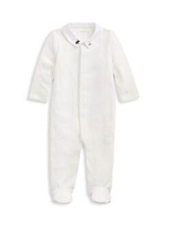 폴로 랄프로렌 여아용 아기 우주복 Polo Ralph Lauren Baby Boys Velour Footie,Paper White