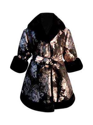 Little Girl's & Girl's Faux Fur-Trim Brocade Wrap Coat