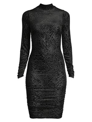 Long-Sleeve Leopard-Print Burnout Bodycon Dress