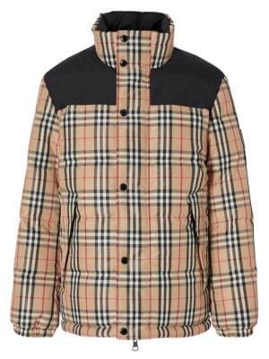 Reversible Plaid Down Puffer Jacket
