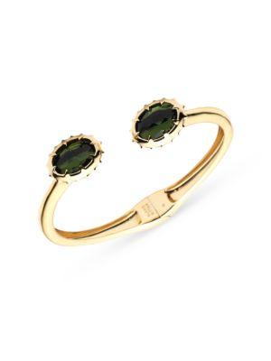 Georgian Stone 10K Yellow Goldplated & Green Tourmaline Crystal Break Hinge Bracele