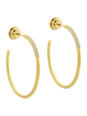 Signature 22K Yellow Goldplated & Cubic Zirconia Pavé Hoop Earrings
