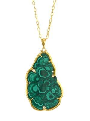 Amulet Hue 24K Yellow Gold, Malachite & Diamond Pendant Necklace
