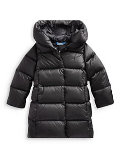 폴로 랄프로렌 걸즈 푸퍼 패딩 - 블랙 Polo Ralph Lauren Little Girls & Girls Nylon Down Puffer Parka,Polo Black