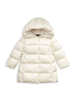 폴로 랄프로렌 걸즈 푸퍼 패딩 - 화이트 Polo Ralph Lauren Little Girls & Girls Nylon Down Puffer Parka,Nevis