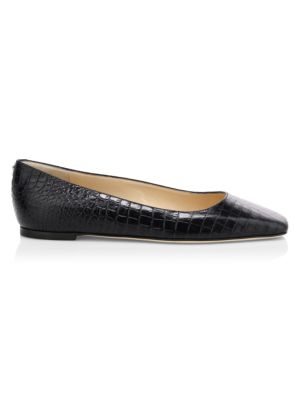 Mirellle Croc-Embossed Leather Flats