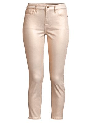 Metallic Coated Ankle Skinny Jeans