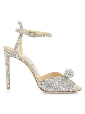 Sacora Peep-Toe Crystal-Embellished Leather Sandals