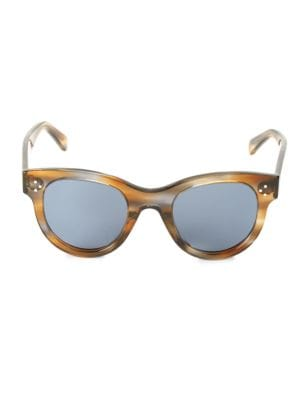 Havana 48MM Round Cat Eye Sunglasses