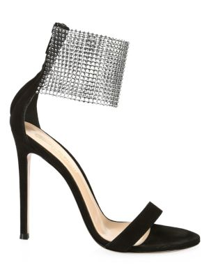 Crystal Beaded Cuff Suede Sandals