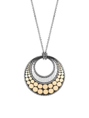 Dot 18K Yellow Gold & Sterling Silver Round Pendant Necklace
