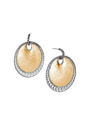 Dot 18K Yellow Gold & Sterling Silver Disc Drop Earrings